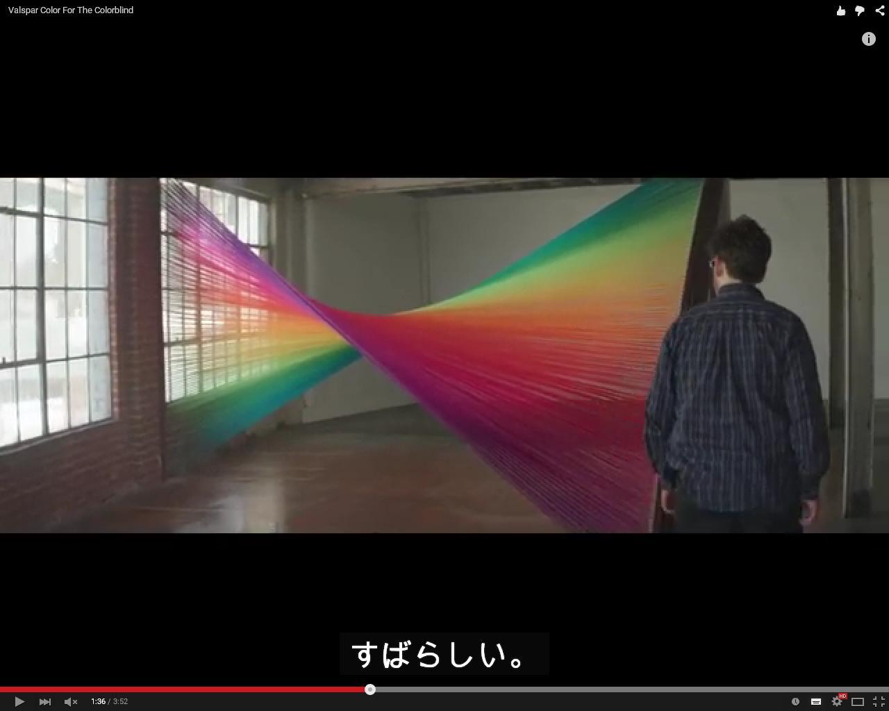 「色弱異常矯正メガネ」によって、初めて<br>色のついた子供を見た父親の感動動画
