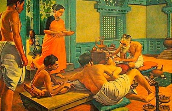古代インドの治療イメージ