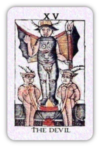 【「神々の心のタロット」に同封のマルセイユタロットの「悪魔」 神社カフェ発行】