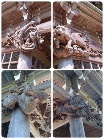 写真左上から 北の玄武 西の白虎 写真下左から 南の朱雀 東の青龍
