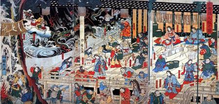 【八百万神々図 歌川国久 江戸時代 ― 神道・仏教・異国の宗教の神々が集っている 】