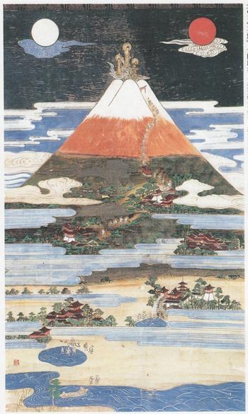 【富士参詣曼荼羅(まんだら)図 江戸時代中期 奈良市指定文化財】